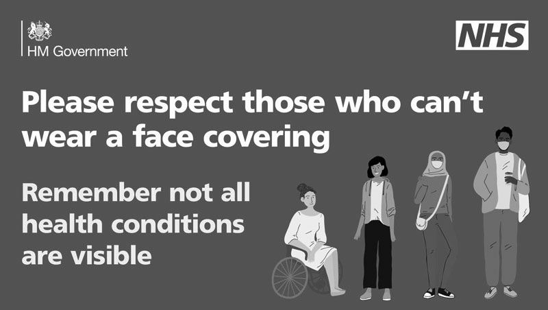 Please respect those who can't wear a face covering. Remember not all health condiitons are visible.